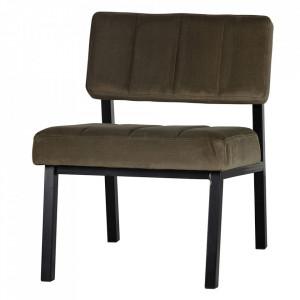 Scaun lounge verde army/negru din catifea si lemn Kaja Woood