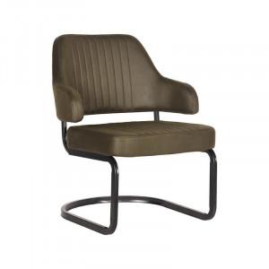 Scaun lounge verde army/negru din microfibre si metal Otta LABEL51