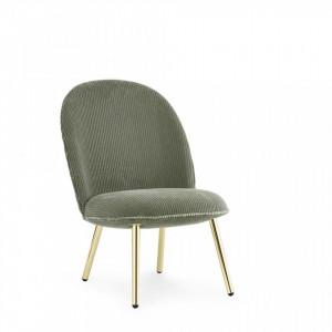 Scaun lounge verde/auriu din otel si textil Brass Normann Copenhagen