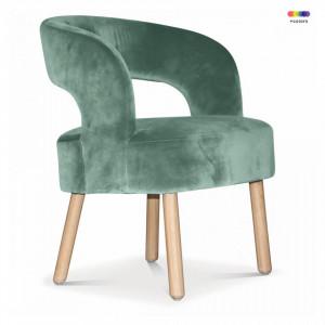 Scaun lounge verde/maro din lemn si catifea Dario Thyme Opjet Paris