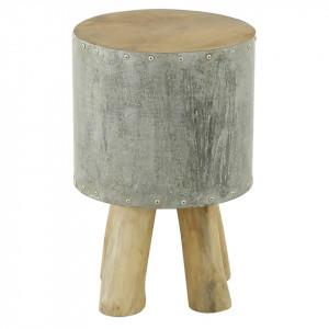 Scaunel maro/gri din lemn si metal Tabou Zago