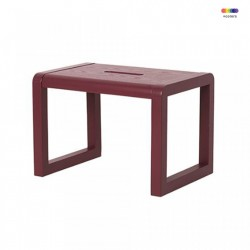 Scaunel rosu burgund din lemn Little Architect Burgundy Ferm Living