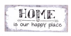 "Semn metalic 30,5 x 13 cm ""Home is our happy place"""