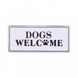 Semn metalic alb 30.5x13 cm Dogs Welcome