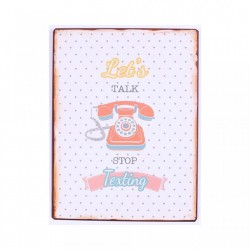 Semn metalic colorat 35x26.5 cm Let's Talk, Stop Texting