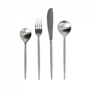Set 16 tacamuri argintii din inox Crisps Rounded Kave Home