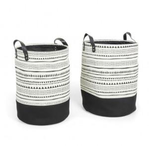 Set 2 cosuri alb/negre din textil Kamori Kave Home