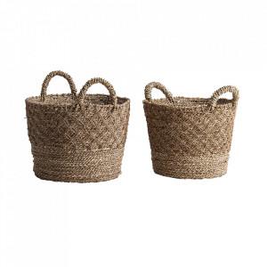 Set 2 cosuri de rufe maro din fibre naturale Alexander Vical Home