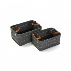 Set 2 cosuri gri din fetru Set Dark Baskets Versa Home