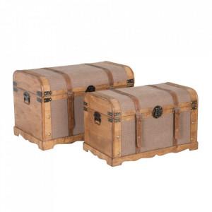Set 2 cufere grej/maro din lemn si textil Brasio Ixia