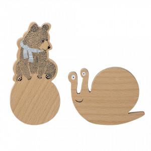 Set 2 cuiere maro din lemn Bear Bloomingville Mini