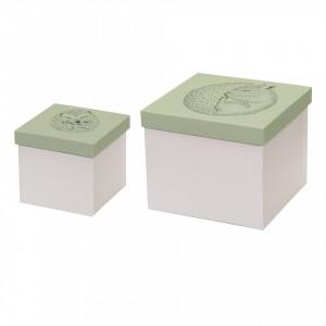 Set 2 cutii cu capac alb/verde din hartie Animals Bloomingville Mini