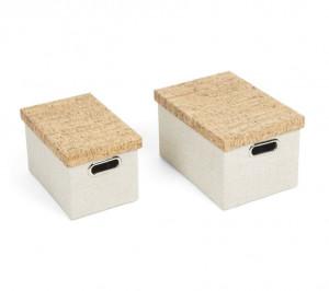 Set 2 cutii cu capac albe din pluta si textil Kalyn La Forma