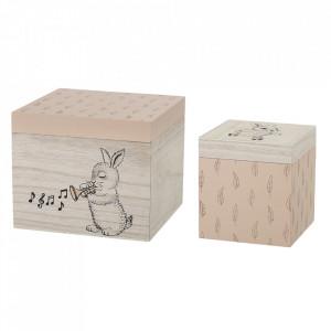 Set 2 cutii cu capac multicolore din lemn Sing Bloomingville