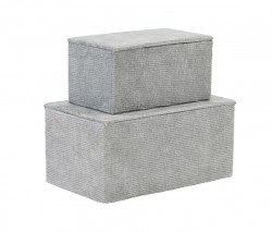 Set 2 cutii gri din carton cu capac Corduroy Grey House Doctor