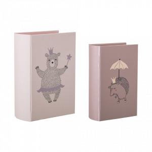 Set 2 cutii tip carte roz din carton Princess Bloomingville