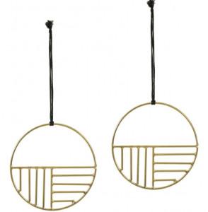 Set 2 decoratiuni suspendabile din metal 10 cm Xanthe Circular La Forma