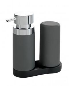 Set 2 dispensere cu suport din polirasina si silicon 250 ml Easy Squeez Station Gray Wenko