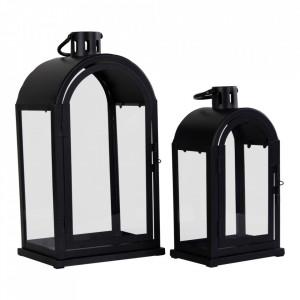 Set 2 felinare negre din sticla si otel Kos House Nordic