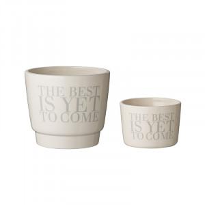 Set 2 ghivece albe din ceramica Roy Bloomingville