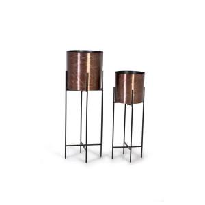 Set 2 ghivece cu suport aramii/negre din metal Villa Giner y Colomer
