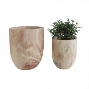 Set 2 ghivece maro din lemn de paulownia Trapia Creative Collection