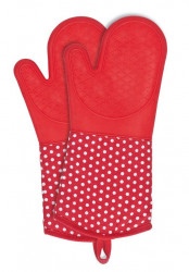 Set 2 manusi rosii/albe din bumbac si poliester pentru bucatarie Oven Gloves Red Wenko