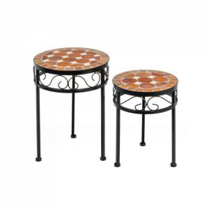 Set 2 masute multicolore din ceramica si metal pentru exterior Vintage Ceramic Unimasa