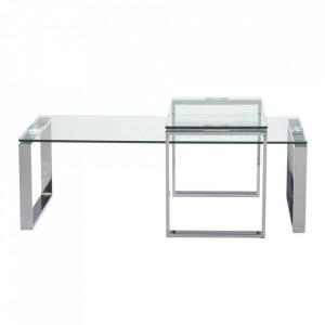 Set 2 masute transparente/argintii din metal si sticla pentru cafea Unha Katrine Actona Company