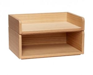 Set 2 organizatoare maro din lemn pentru birou Anne Hubsch