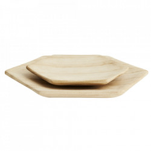 Set 2 platouri maro din lemn de paulownia Hexa Madam Stoltz