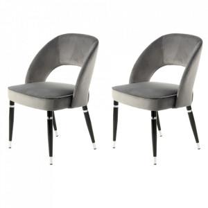 Set 2 scaune dining gri/argintii din poliester si fier Courtney Kayoom