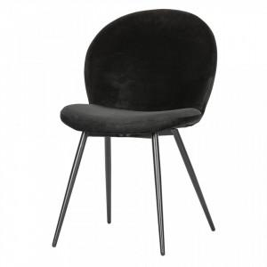 Set 2 scaune dining negre din otel si catifea Bram Woood