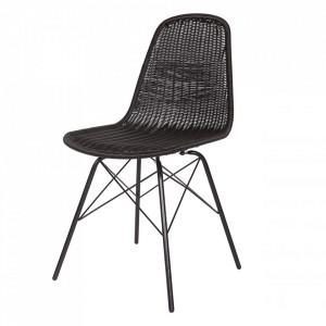 Set 2 scaune dining pentru exterior negru din plastic si metal Spun Be Pure Home