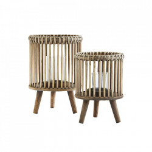 Set 2 suporturi din bambus si ratan pentru lumanare Bamboo Madam Stoltz