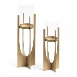 Set 2 suporturi lumanare alama si sticla Aucland La Forma