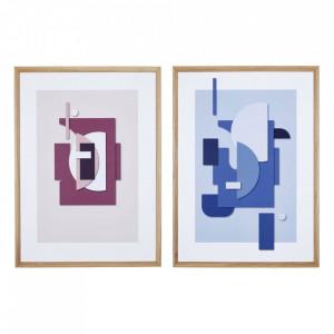 Set 2 tablouri din sticla si lemn Guarana Hubsch
