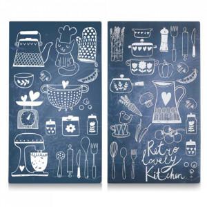 Set 2 tocatoare dreptunghiulare albastre/albe din sticla 30x52 cm Lovely Kitchen Zeller
