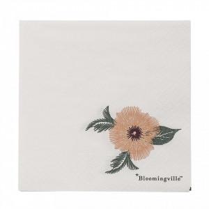 Set 20 servetele 25x25 cm Flowers Bloomingville