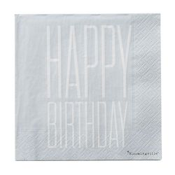 "Set 20 servetele albastru deschis 33x33 cm ""Happy Birthday"" Bloomingville"