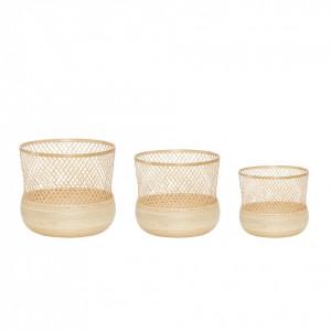 Set 3 cosuri maro din bambus Marcia Hubsch