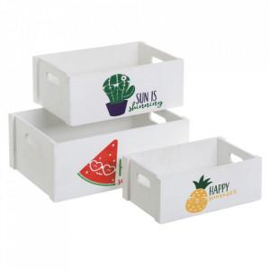 Set 3 cutii albe din placaj Happy Summer Unimasa