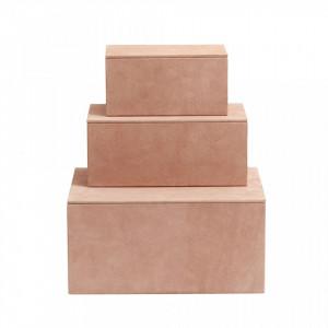 Set 3 cutii cu capac roz din piele si MDF Box Suede Leather Nordal