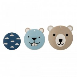 Set 3 decoratiuni perete din ceramica Bear Otter Bloomingville