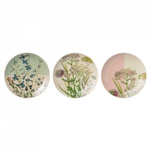 Set 3 farfurii multicolore din ceramica Flowers Bloomingville