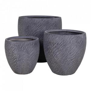 Set 3 ghivece gri din fibre de lut Wellington House Nordic