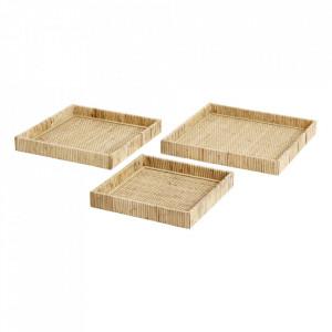 Set 3 platouri decorative maro din ratan si placaj Fuji Square Nordal