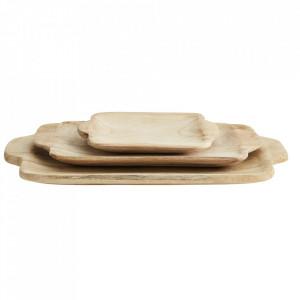 Set 3 platouri maro din lemn de paulownia Rena Madam Stoltz