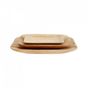 Set 3 platouri maro din lemn Square Paulownia Plates Madam Stoltz