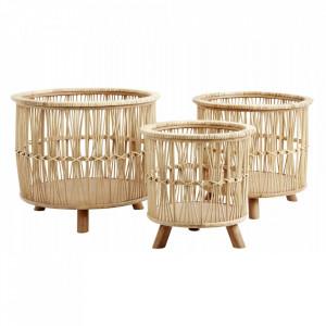 Set 3 suporturi maro din bambus si lemn pentru ghivece Zoe Nordal